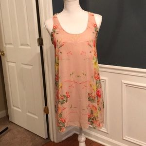 Blush dress with floral print great for spring